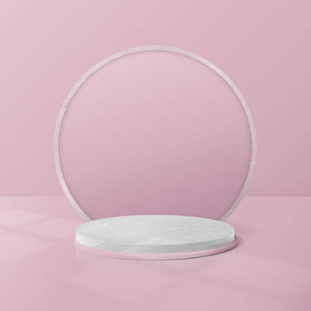 White and Pink Marble Circle Podium Display. Abstract Background for Product Presentation. 3d geometric shapes. Vector Illustration