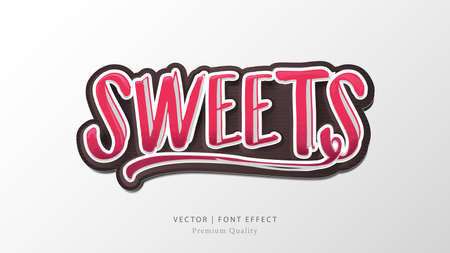 Sweet Lettering Alphabet Sign. Vector Illustration
