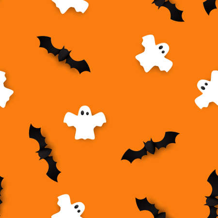 Cute bats and ghosts seamless pattern vector Halloween background. Vector illustration Ilustração