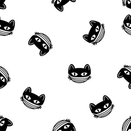 Cute cat heads seamless pattern vector Halloween background. Coronavirus concept. Vector illustration
