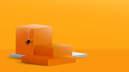 3d Podium in abstract orange and white composition with Spider and cobweb in halloween theme design. Vector illustration