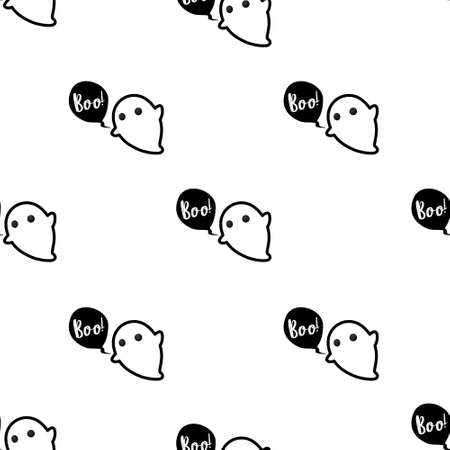 Cute ghost seamless pattern vector Halloween background. Vector illustration