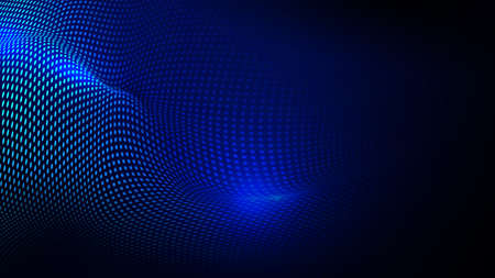 Abstract dynamic wave of particles background. Futuristic Technology with connecting dots and lines. Vector illustration