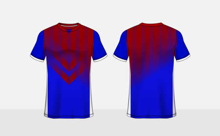 Blue, red and white pattern layout e-sport t-shirt design template Ilustração