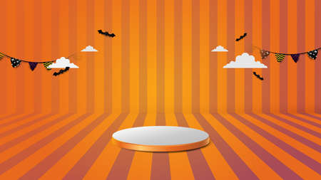 3d Podium in abstract orange and white halloween theme design. Vector illustration