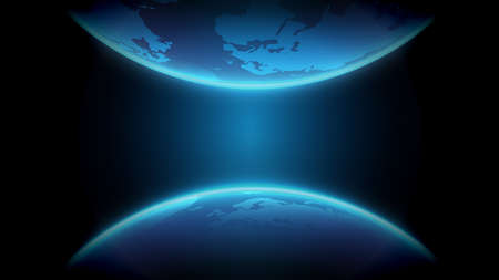 Map of the planet with futuristic Internet and technology. Floating blue planet Earth. Global social network