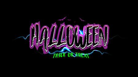 Happy halloween trick or treat text banner. Vintage, 80s, 90s and Old retro style font alphabet. T-shirt print lettering artwork