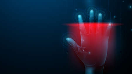 Hand print security through human fingerprints. Safety cyber security technology concept. Abstract hand with scan background Ilustração