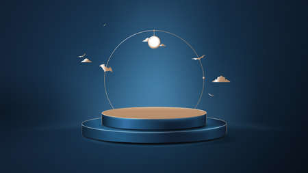 3d Dark blue and gold circle podium display with Halloween ornaments. Luxury concept. Vector Illustration