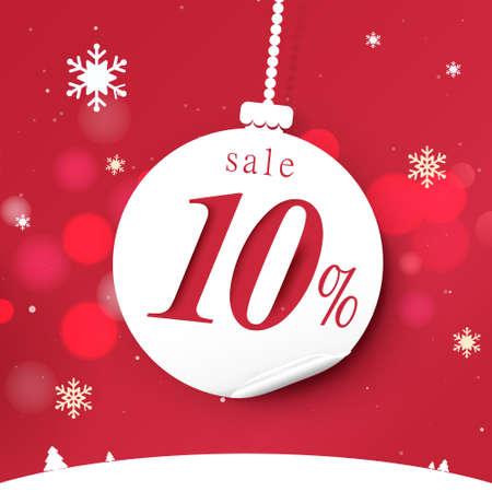 Banner for Christmas sale. White christmas balls hanging on red bokeh background. Vector illustration 向量圖像