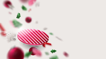 Abstract geometric 3D effect compositions with Christmas, New year ornaments concept background. Vector illustration 向量圖像