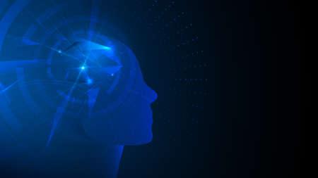 AI, Artificial intelligence. Ai digital brain. Abstract futuristic technology background 向量圖像