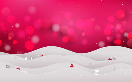 Merry christmas and Happy new year. Christmas landscape, tree and snow on Red bokeh background. paper art and digital craft style