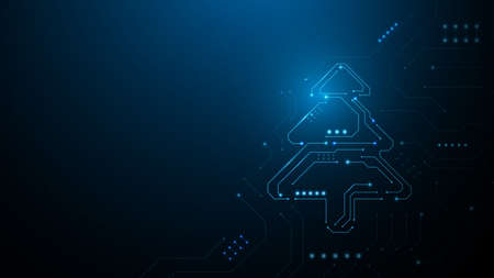 Abstract christmas tree in circuit network digital technology electronic concept. Vector illustration 向量圖像