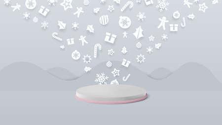 3d white podium display with Flat geometric shape christmas ornaments. Vector Illustration 向量圖像