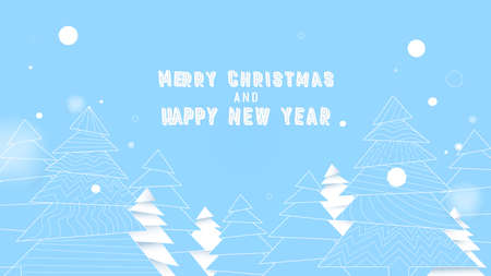 Simple Christmas tree in blue and white colors. Merry christmas and New year background
