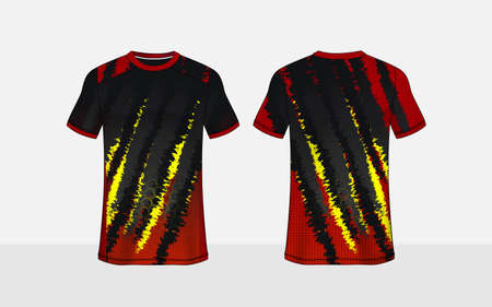 Black, red and yellow pattern layout e-sport t-shirt design template Stock Illustratie
