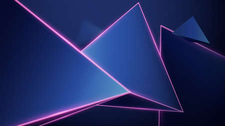 Abstract geometric low polygon background. 3D triangles and pink trim laser light. Vector illustration 向量圖像