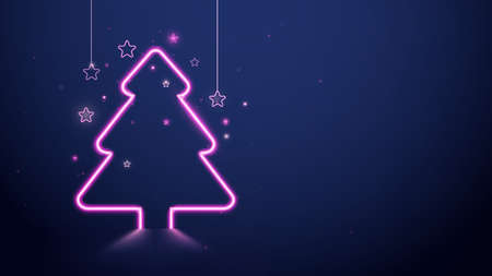 Christmas and New Year. Christmas tree pink neon light and stars on dark blue background. Vector illustration 向量圖像