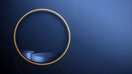 3d Dark blue circle podium display with Abstract gold geometric shape luxury concept. Vector Illustration 向量圖像