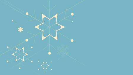Christmas and New Year. Abstract flat Christmas snowflakes and stars on blue background. Vector illustration 版權商用圖片 - 156516329