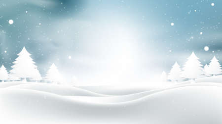 Christmas and New Year. Winter landscape with falling christmas snowflakes, light, stars. Vector illustration
