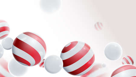 Abstract geometric 3D effect compositions with the Christmas ornaments concept. White and red Christmas balls. Merry Xmas 向量圖像
