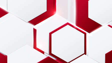 Abstract red and white hexagons technology digital hi-tech concept background. Vector illustration