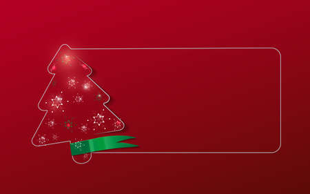 Christmas tree frame and snowflakes on a red background. Vector illustration
