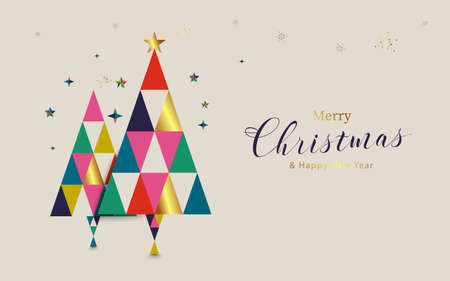 Merry Christmas and Happy New Year. Christmas tree and geometric shapes.  Scandinavian vintage style design. Vector illustration