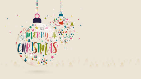 Merry Christmas and Happy New Year. Christmas balls and Colorful Xmas elements. Vector illustration