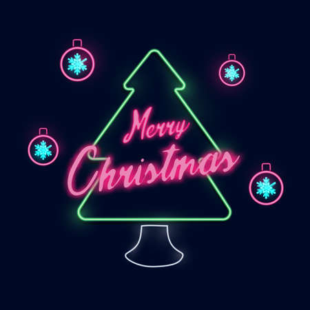 Christmas and New Year. Christmas tree neon light and Snowflakes ball even on dark blue background. Vector illustration