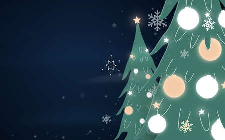 Merry Christmas and New Year. Christmas trees, balls with snowflakes, light, stars. Paper art and craft style. Vector illustration
