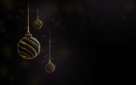 Merry Christmas and happy new year. Golden luxury Christmas balls with blurred lights effect. Vector illustration