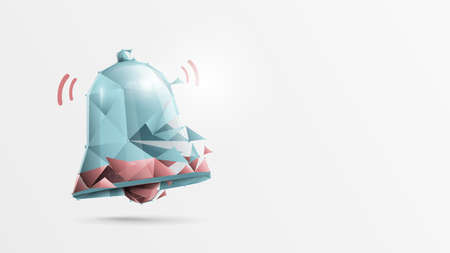 Notification bell icon. Social Media element. 3d flat, low poly style design 向量圖像