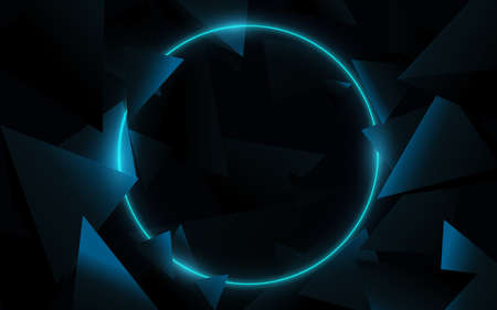 A blue circle with 3D triangles technology Hi-tech futuristic digital. Abstract geometric background. Vector illustration 版權商用圖片 - 157735671