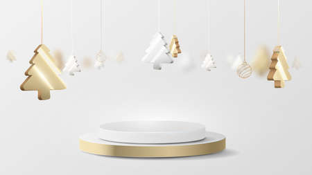 3D luxury gold and silver circle podium display with Christmas tree hanging element. Vector Illustration 版權商用圖片 - 157735673