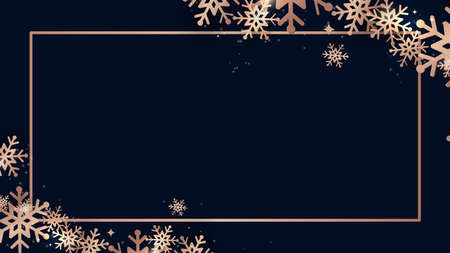 Elegant Christmas and shining gold snowflakes with rectangle frame Banner. Vector illustration