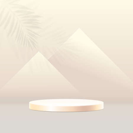 3D podium composition. Abstract minimal geometric background. Pyramids in Egypt concept. Vector illustration