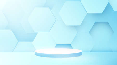 3D podium composition with Abstract technology digital hi-tech hexagons background. Space for your design. Vector illustration 版權商用圖片 - 158131095