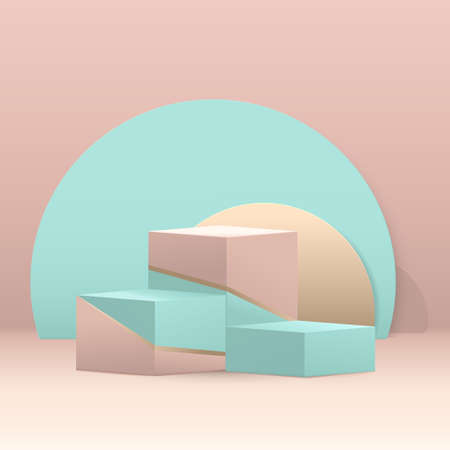 3D steps cube podium composition. Abstract geometric minimal background. Blue, green, and gold pastel color with space. Vector illustration