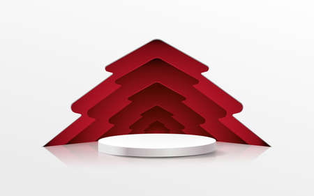 3D White circle podium display with Christmas tree in paper cut style. Vector Illustration 版權商用圖片 - 158131306
