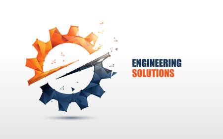 Engineering, Gear logo. Low poly model design. Vector Illustration