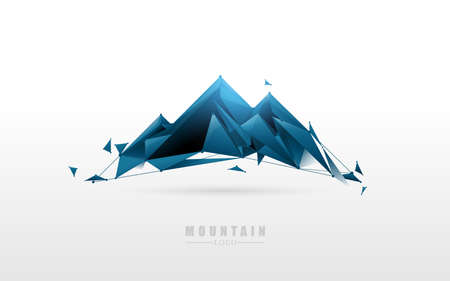 Simple Mountain logo. Low poly model design. Vector Illustration