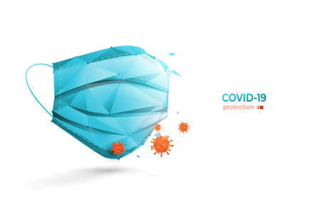3D Medical masks with viruses and bacteria. Low poly model design. Vector Illustration