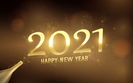 Happy New Year 2021 with Golden champagne bottle, Confetti light. Greetings and invitations cards. Vector illustration 版權商用圖片 - 158655235