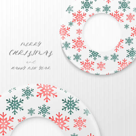 Merry Christmas. Red and green snowflakes Christmas wreath pattern on white wooden. Vector illustration