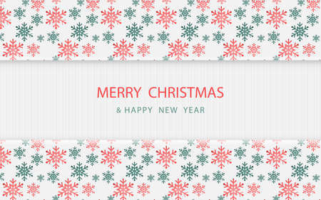 Merry Christmas. Red and green Christmas snowflakes pattern on white wooden. Vector illustration 版權商用圖片 - 158542336