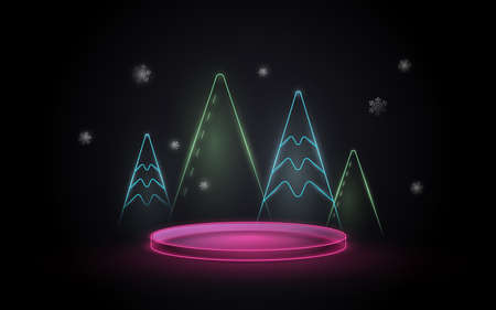 3D neon light podium display with Christmas tree element. Vector Illustration