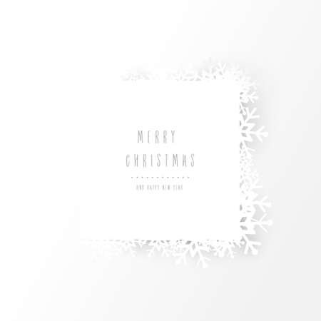 Christmas snowflakes and square-shaped layout background. Vector illustration
